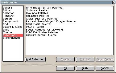 Extensions in Preferences